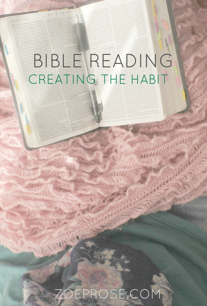 Do you wish you had more time to read your Bible? Do you want to start but keep forgetting to pick it up? Read some tips from someone who has been there and done that so many times, and ways that she created a better habit to spend time in the Word. Click over to the Zoeprose blog to read the tips now!