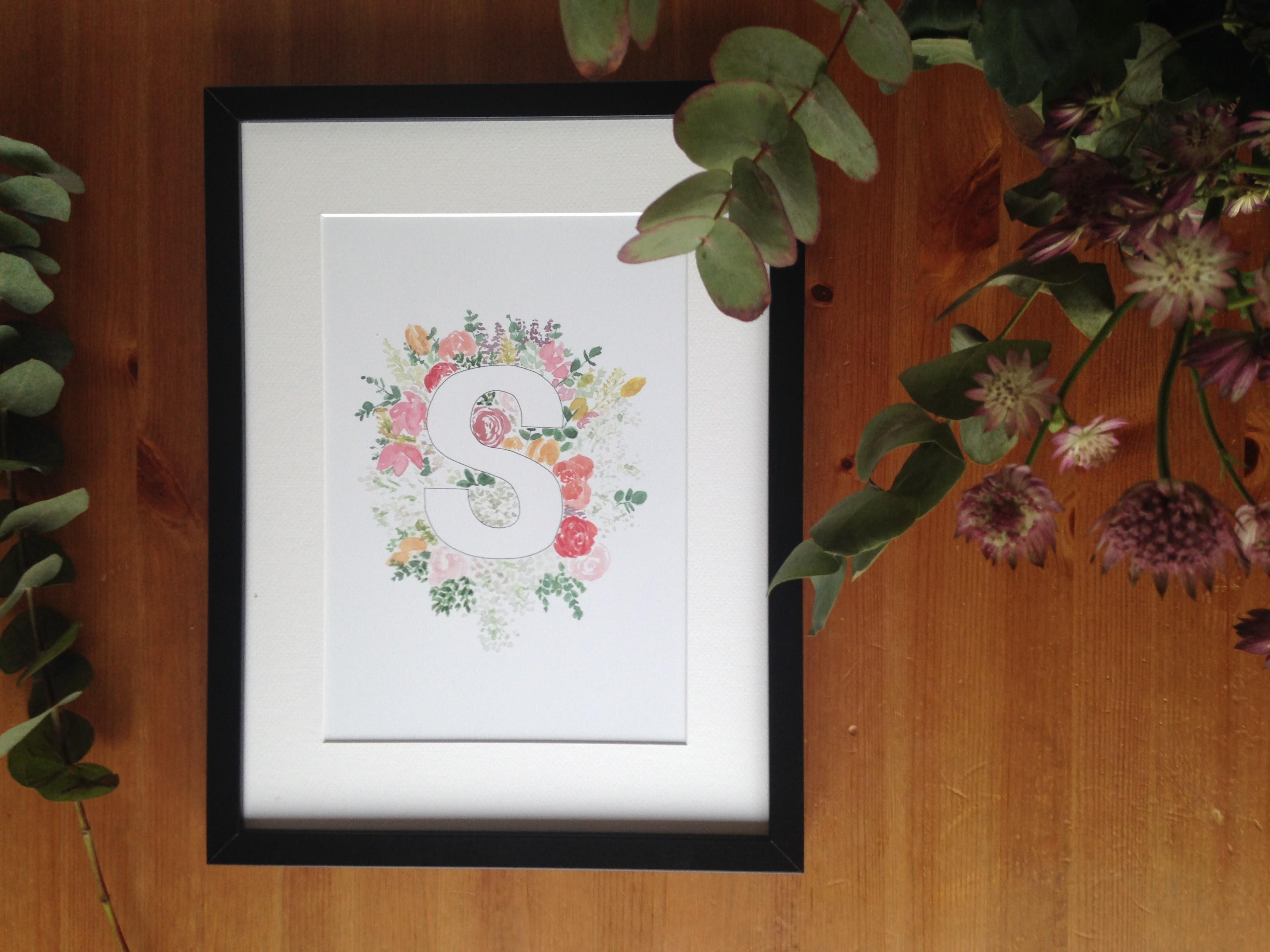 Floral alphabet letter prints | Zoeprose shop