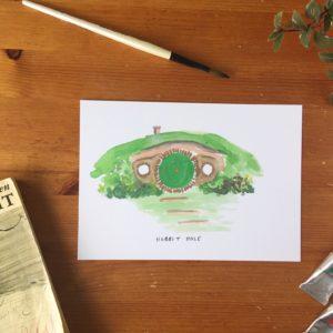 the hobbit hole print, Tolkien LOTR wall art