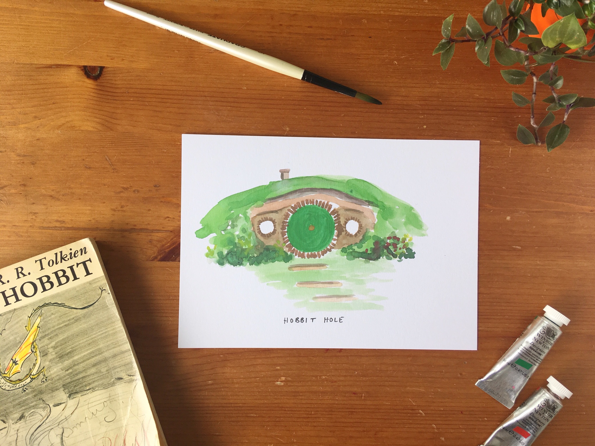 the hobbit hole print, Tolkien LOTR wall art