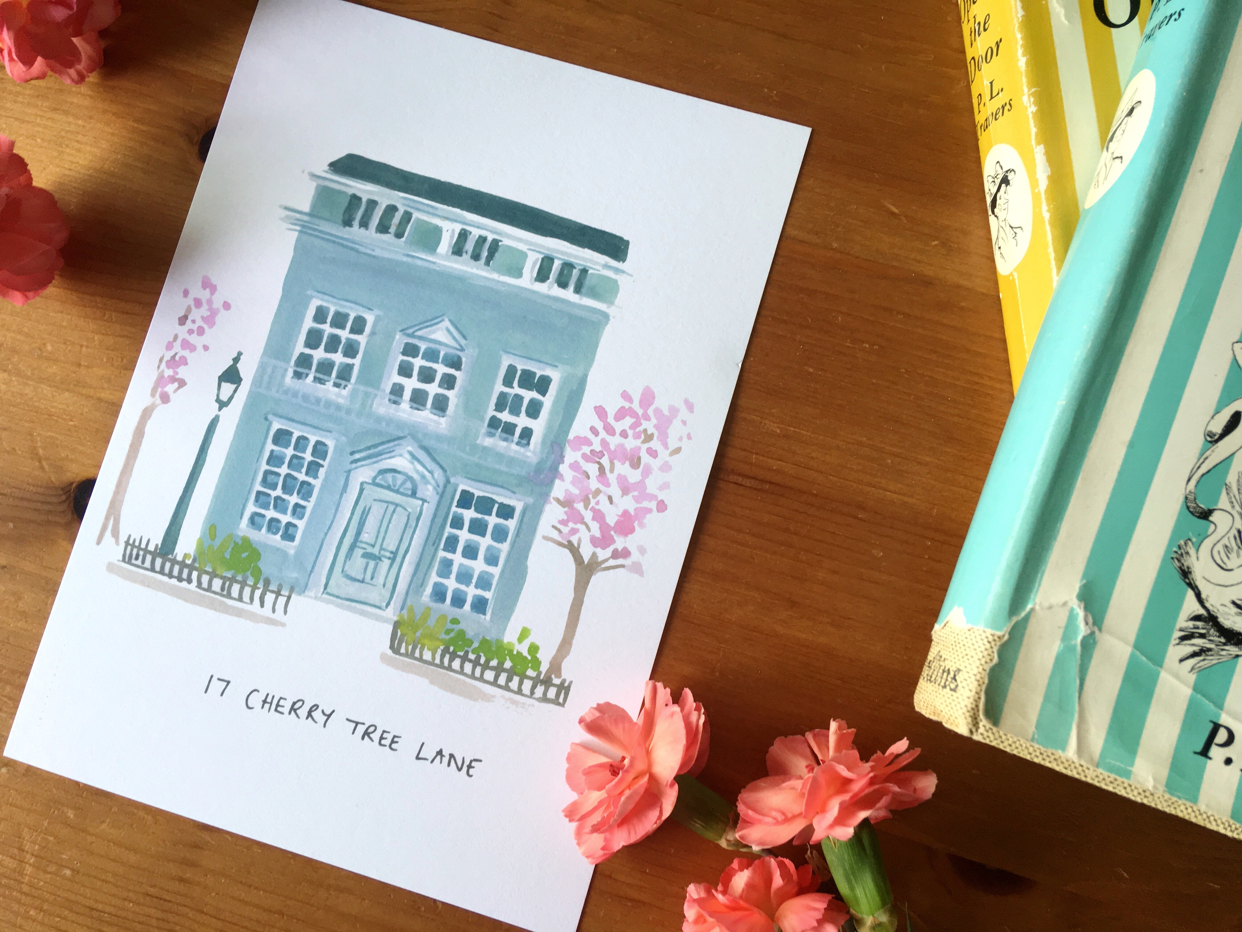 Cherry Tree Lane Mary Poppins House print by Zoeprose- fictional house wall art series