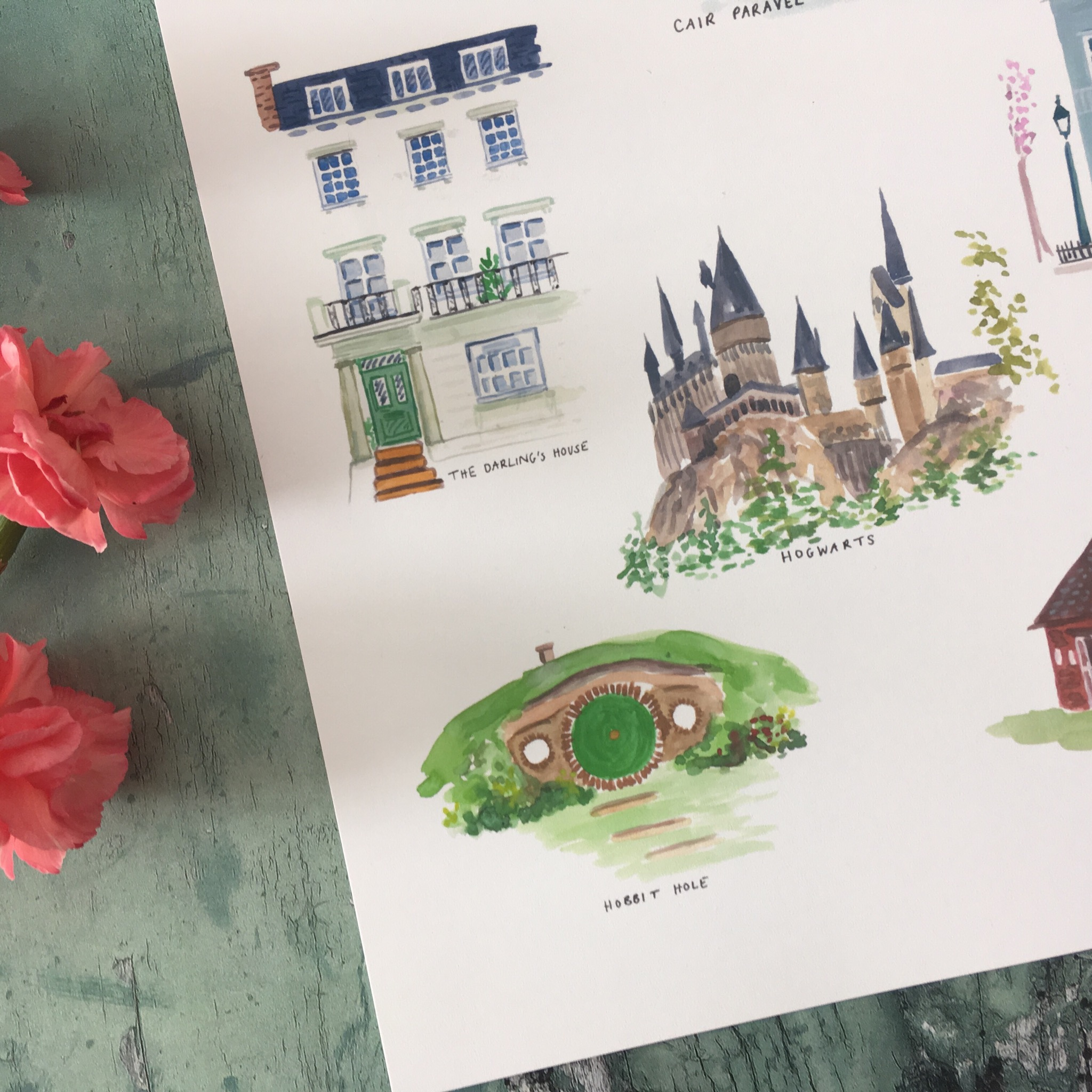 Children's Classics Fictional Houses Print by Zoeprose