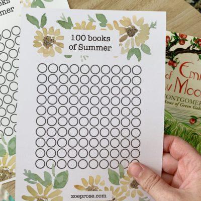 100 books of Summer | Reading challenge printable